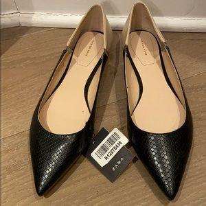 NWT Zara Pointy Toe Faux Croc Flats size 10